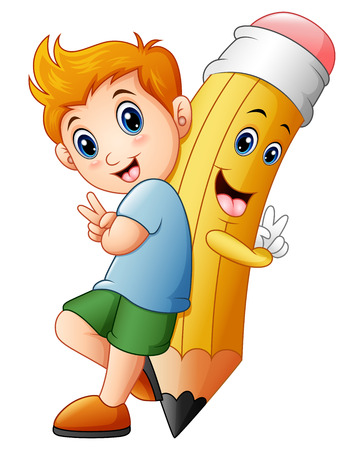 Schoolboy with cartoon pencil character gesturing peace