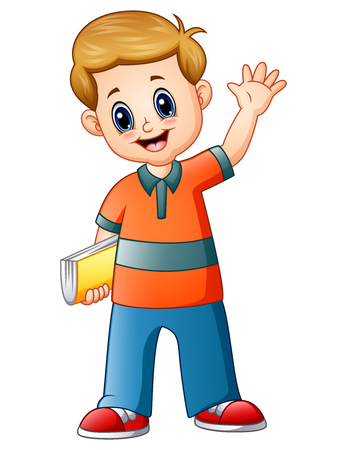 Cartoon boy holding a book with waving hand Stock Photo