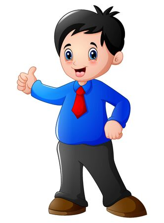 Cartoon businessman giving thumbs up
