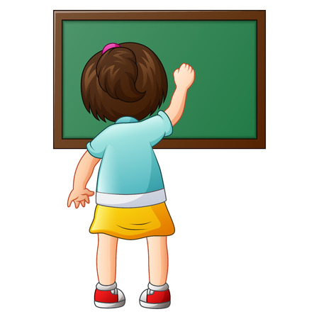 Vector illustration of School girl writing on a blackboard Illustration
