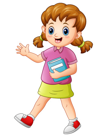 schoolkids: Vector illustration of Cute school girl holding a book