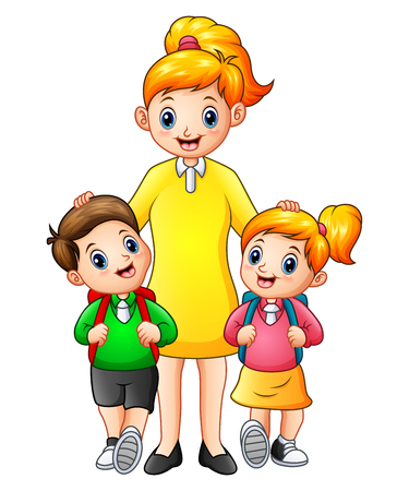 companion: Illustration of Cartoon kids being escorted by their mother to school