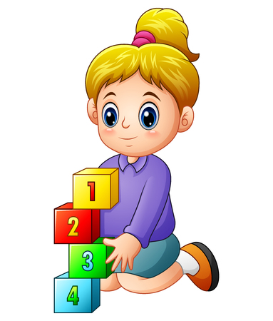 Illustration of cartoon girl playing with block numbers Ilustracja