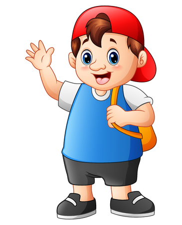 schoolkids: Vector illustration of Fat school boy cartoon go to school