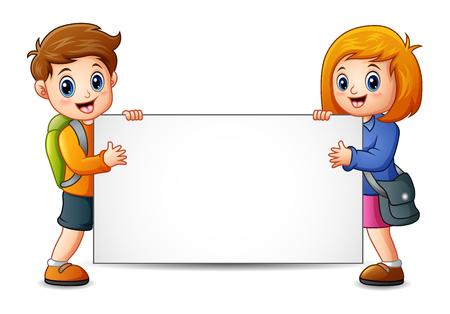 Vector illustration of School kids holding a blank sign Illustration