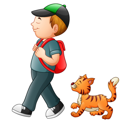 Vector illustration of School boy going to school with a cat
