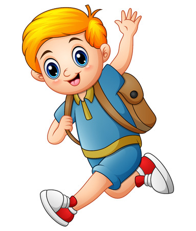 Vector illustration of Cute boy go to school