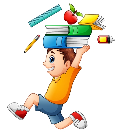 Vector illustration of Cartoon boy running and carrying a school supplies