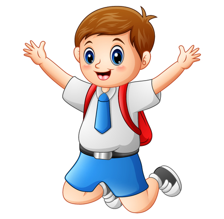 A cute boy in a school uniform is jumping Stock Photo