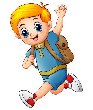 wave hello: Cute boy go to school Stock Photo