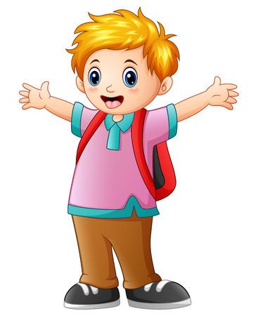 wave hello: Happy schoolboy cartoon Illustration