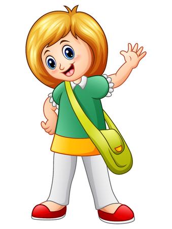 wave hello: Vector illustration of Cute school girl waving