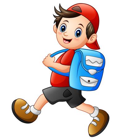 Vector illustration of Cute school boy cartoon going to school