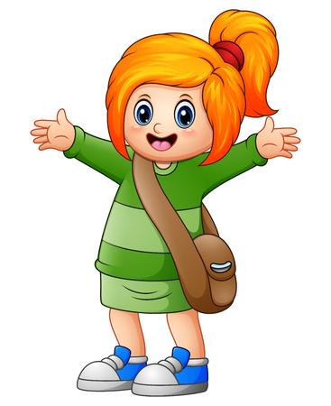 Vector illustration of Cute blonde hair girl go to school