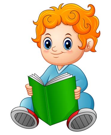 Vector illustration of Cute schoolboy reading a book