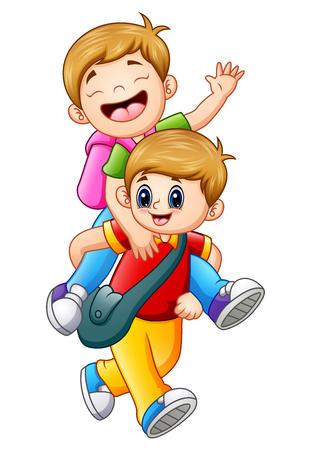 Vector illustration of Two school kids going to school