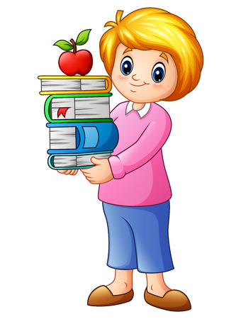 Vector illustration of Cartoon female with stack books and apple