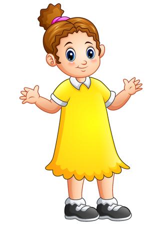 Cartoon little girl in yellow dress