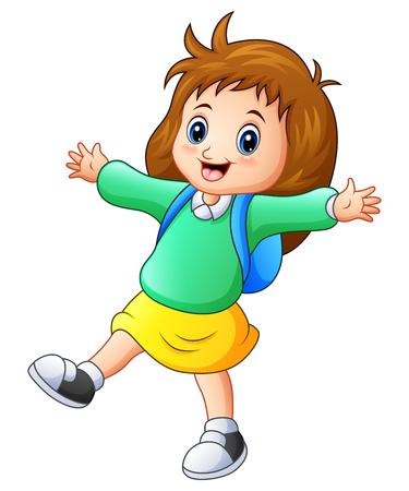 wave hello: Happy school girl cartoon