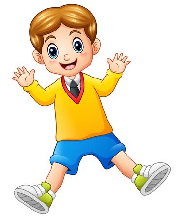 A cute schoolboy waving hands Stock Photo