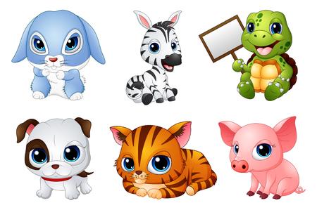 Ilustración vectorial de Cute Cartoon animales conjunto