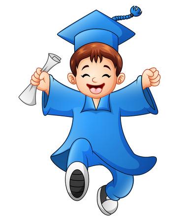Illustration vectorielle de l'obtention du diplôme de garçon de bande dessinée Banque d'images - 80383775