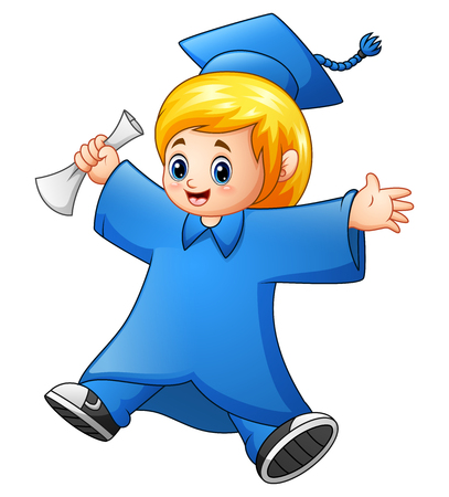 Vector illustration of Cartoon girl graduation Reklamní fotografie - 80385490