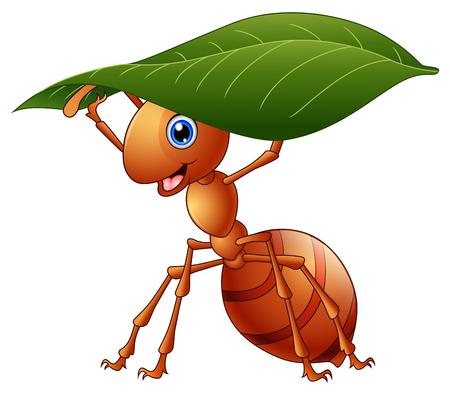 녹색 잎을 들고 만화 개미의 벡터 일러스트 레이 션