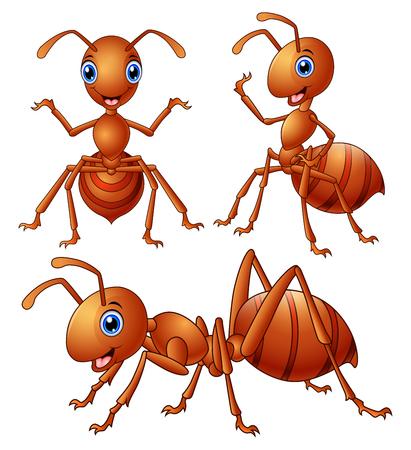 Vector illustration of Set of brown ants cartoon Vettoriali