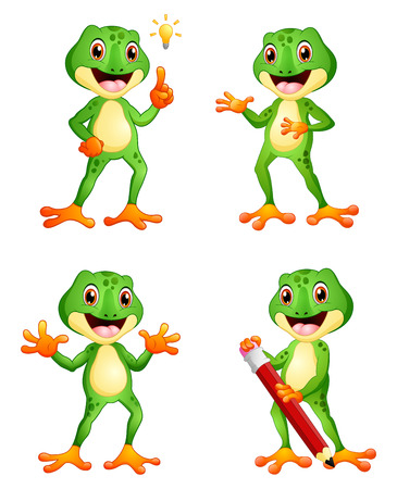 Vector illustration of Frog cartoon set