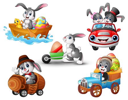 Ilustración de vector de conjunto de conejo de dibujos animados de conducción de vehículo Vectores