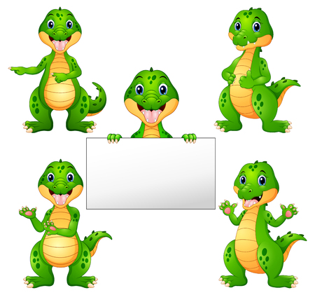 Vector illustration of Crocodile cartoon set
