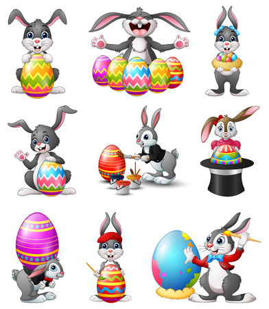 rabbit standing: Vector illustration of Cute Easter Bunnies set