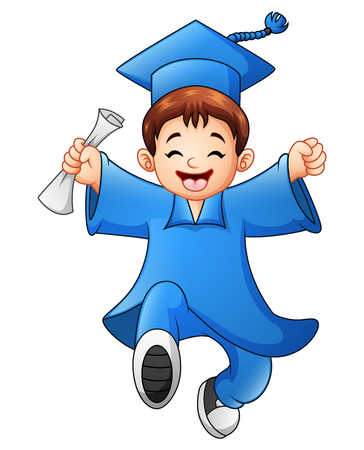 Cartoon boy graduation