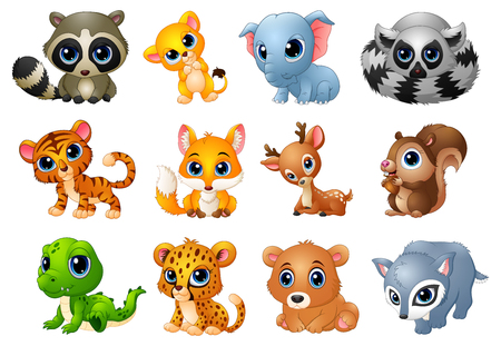 Cute Animals cartoon set Stock Photo