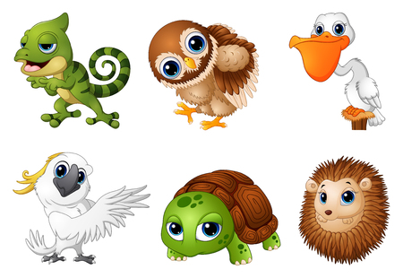 Vector illustration of Cute Animals cartoon set Stock Photo
