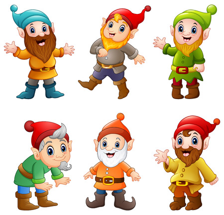 Set of cartoon happy dwarf
