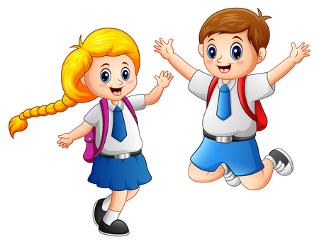 Illustration vectorielle de Happy school kids dans un uniforme scolaire Banque d'images - 81758316