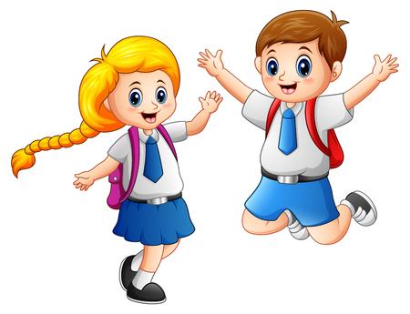 Vector illustration of Happy school kids in a school uniform Vettoriali