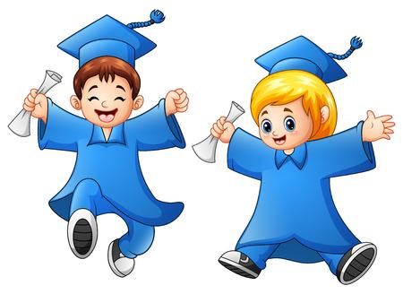 i i  i i toga: Ilustración vectorial de la graduación de muchacho y niña de dibujos animados