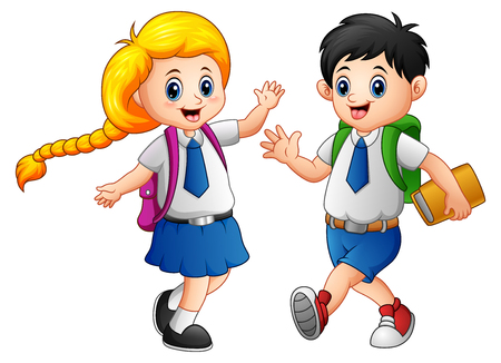 wave hello: Vector illustration of Happy school kids go to school