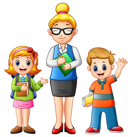 hi back: Vector illustration of A female teacher with students holding a book Illustration