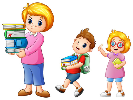 Vector illustration of Cartoon female with school boy carrying with a stack of books