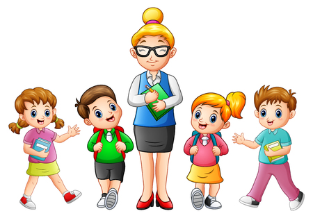 Vector illustration of A female teacher with students 版權商用圖片 - 81758322