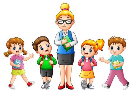 Vektorillustration eines weiblichen Lehrers mit Studenten Vektorgrafik