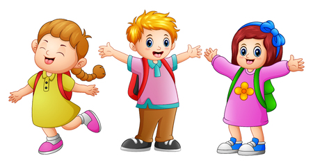 Vector illustration of Three school kids waving Vectores