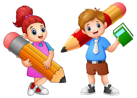 Vector illustration of Cartoon childrens holding a pencil Vectores