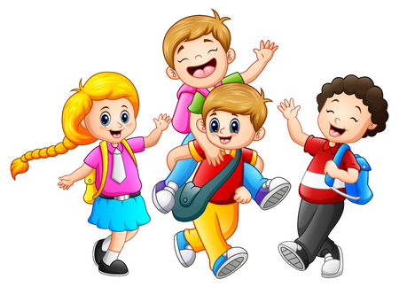 Vector illustration of Happy childrens cartoon Çizim