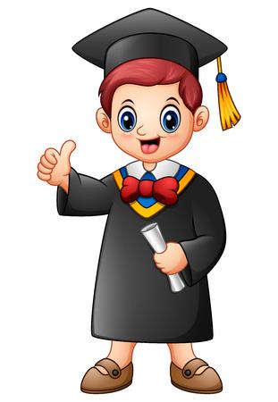 Vector illustration of Cartoon graduation boy giving thumbs up Illustration