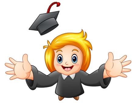 Vector illustration of Cartoon graduation girl Illustration